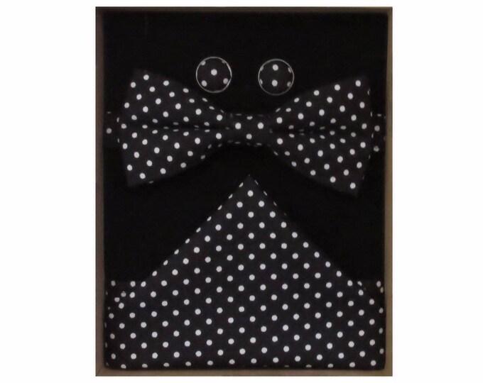 Black & White Micro Polka Dot Bow Tie Cufflink and Handkerchief Boxed Gift Set