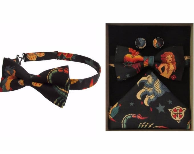 Tattoo Design Bow Tie & Boxed Gift Set