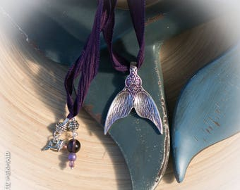 Aubergine 100% Pure Silk Necklace with Mermaid Tail spoon pendant