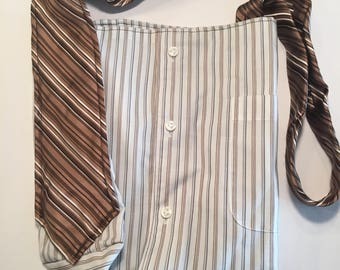 Brown stripe tie purse