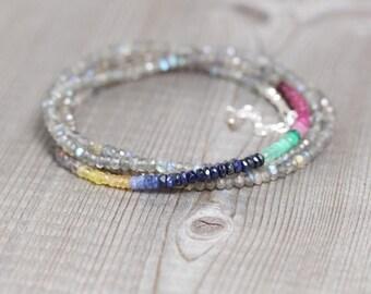 Ombre Sapphire & Labradorite Multi Wrap Bracelet In Sterling Silver or Gold. Long Beaded Gemstone Necklace. Hippie Boho Bohemien Jewellery