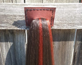 """43"""" Long horse tail for costumes, cosplay, or ponyplay. Dark brown with rust highlights. Ready to ship."""