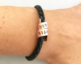 personalised leather bracelet, black leather, wrapped custom message, mens bracelets, gifts for him, men's jewellery, leather jewelry