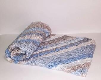 Handmade Blanket/Crochet Baby Blanket/Blue Baby Blanket/Crib Blanket/Crochet Striped Blanket/Baby Afghan/Baby Gift