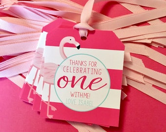 Flamingo Party Favor Tags. Flamingo First Birthday Thank You Tags. Personalized 1st Birthday Party Favors. Custom Pink Girl Party Decoration