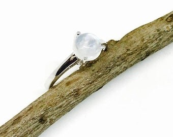 10% Rainbow moonstone ring set in Sterling silver 925. Size -7 1/2 and 61/2. Natural authentic rainbow moonstone .