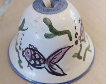 very beautiful ceramic bell with fish painting, 5 x 7.5 diameter