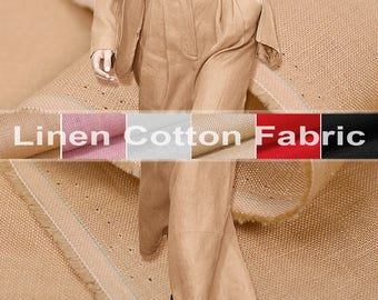 150CM Wide Linen Cotton Solid Color Fabric for Spring and Autumn Clothes Pants E411