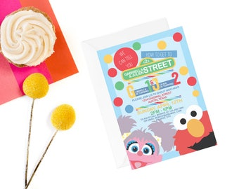 Siblings Sesame Street Invitation | Twins Sesame Street Invite | Elmo Invitation | Sesame Street Invite | Abby Invite