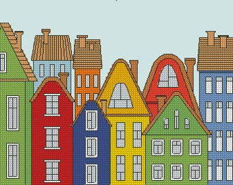 cross stitch pattern Colourful houses