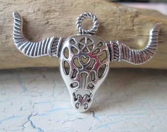 Bull pendant bull-ring charm * Jewelry pendant * animal * jewelry * decorated * 50x33x6 mm
