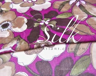 Magenta silk chiffon passion flowers fabric by the yard