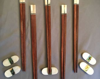 Handmade, Vietnamese Rosewood Chopsticks with Green Abalone shell accents and matching  rests