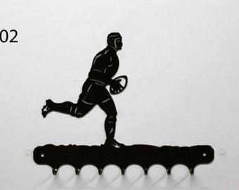 Hangs 26 cm pattern metal keys: rugby player