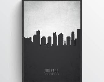 Orlando Skyline Print, Orlando Cityscape, Orlando Poster, Orlando Art, Orlando Decor, Home Decor, Gift Idea, USFLOR19P