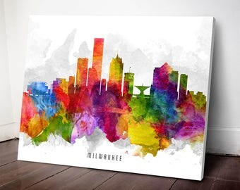 Milwaukee Skyline Canvas print, Milwaukee Art, Milwaukee Cityscape, Milwaukee Decor, Home Decor, Gift Idea, USWIML13C