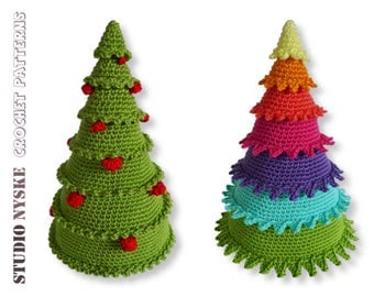 Christmas tree PATTERN deal, classic decoration with balls, colorful rainbow ornament crochet