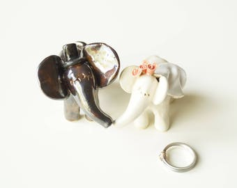 Elephant Cake Topper, Happy Elephant, Wedding Cake Topper, Miniature Elephant Sculpture, Ceramic Cake Topper by Her Moments