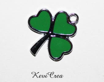 6 x 3 silver metal enameled leaf clover charms