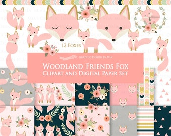 30% off Pink Fox / Woodland Friends / Fox Clip Art + Digital Paper Set - Instant Download