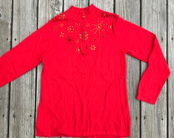 Vintage Ugly Red on Red Jewels Christmas Sweater
