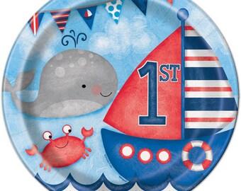 My First Little Sailor Party lunch Plates/ Nautical / sailor / 1st birthday party/ First birthday/ first birthday celebration/ boy birthday