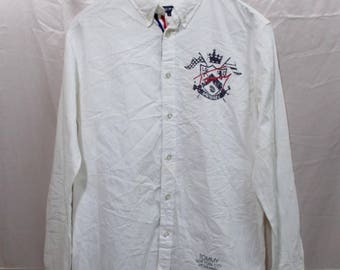 15% Sale..!!! Tommy MCMLXXXV White Embroidery Logo Sailling Gear Th Hilfiger Shirts