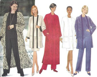 Butterick 6214 Sewing Pattern Very Easy Unlined Jacket Duster Top and Elastic Waist Skirt and Pants sz 20 thru 24 Uncut