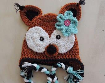 Crochet Fox Hat, Girl Fox hat, Kids hats, Animal hats, Luv Beanies, Braided Fox hat, Fox Beanies, Photo Prop, Children hats
