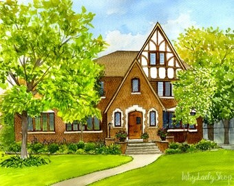 Custom house portrait. Custom house drawing. Painting of my house. House painting from photo. Watercolor house portrait. Custom watercolor