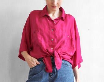Magenta silk shirt / minimalist silk shirt / oversized silk shirt / boyfriend shirt / short sleeve silk shirt / pink silk shirt top