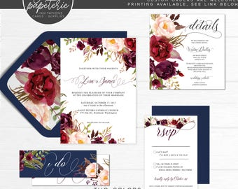 Fall Rustic Burgundy Wedding Invitation RSVP Suite with Belly Band and Details Card