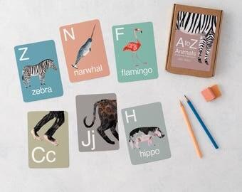 A-Z Animal Alphabet Flash Cards, ABC flash cards, Animal cards, Nursery Art, Educational, Flash card, Flash Card, Nursery Decor, Preschool