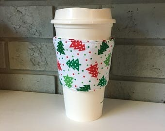 Coffee Cup Cozy, Cup Wrap, Coffee Cuff - Christmas Trees
