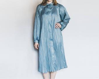 80s Vintage Coat, Spring Fall Coat, Vintage Raincoat, Blue Rain Coat, Pleated Coat, Pleat Coat, Metallic Coat, Blue 80s Coat, Knee Length