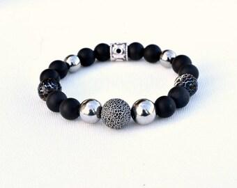 Black agate bracelet antique onyx hematite silver