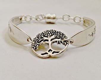 Eco Friendly Tree Of Life Spoon Bracelets for Women , Upcycled Silverware Jewelry Gifts for Her , Recycled Spoon Jewelry for Mom , Mom Gift