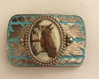 Vintage Western Horses Belt Buckle Turquoise Painted Buckle With Horse Medalion Cowboy Belt Buckle