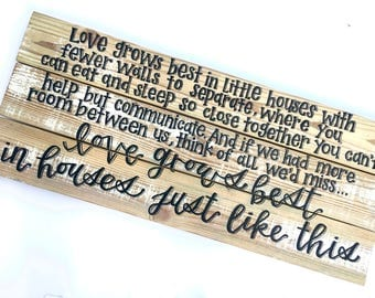 Love Grows Best in Houses Just Like This Wood sign