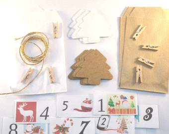 DIY Kit calendar Advent Christmas Kraft and white