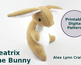 Rabbit Sewing Pattern - Beatrix the Bunny - Upright Seated Rabbit Plush Pattern - Printable Digital Sewing Pattern PDF