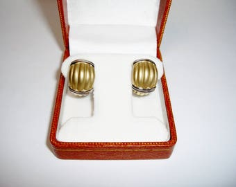14K Y & W Gold Ribbed Earrings, Omega Clip Post in Box, Vintage, Valentine