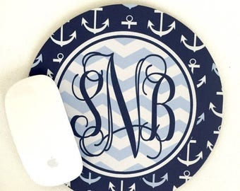 Summer Sale Anchors Mouse Pad. Custom Nautical Monogrammed Gift. Perfect Nautical Desk Accessory!