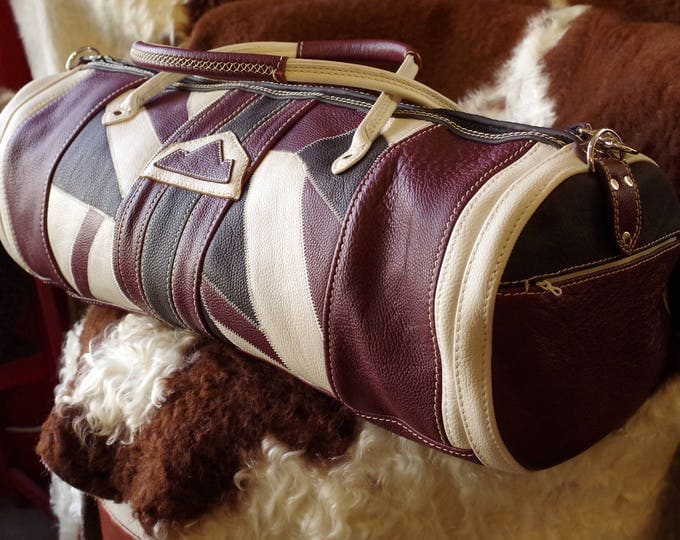 large leather patchwork duffel bag Brown Burgundy and beige