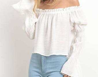 Long Sleeve Off Shoulder Fitted Cropped Top