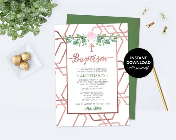 baptism invitation faux rose gold baptism invitation baptism girl