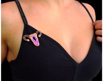 Mini Crystal Creatrix Brooch • Artist Collaboration • Pink Agate • Uterus • Opal • MADE TO ORDER