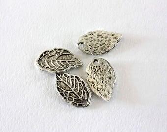 4 16 x 10 mm aged silver leaf charms