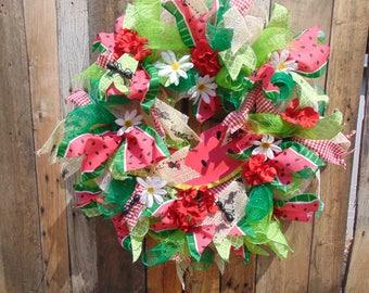 deco mesh watermelon, summer, picnic wreath