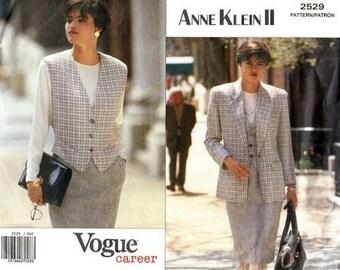 Vogue 2529 Just Right Jacket, Vest and Skirt / 1990 SZ6-10 UNCUT